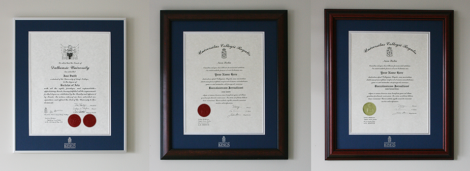 University of King's College degree frames