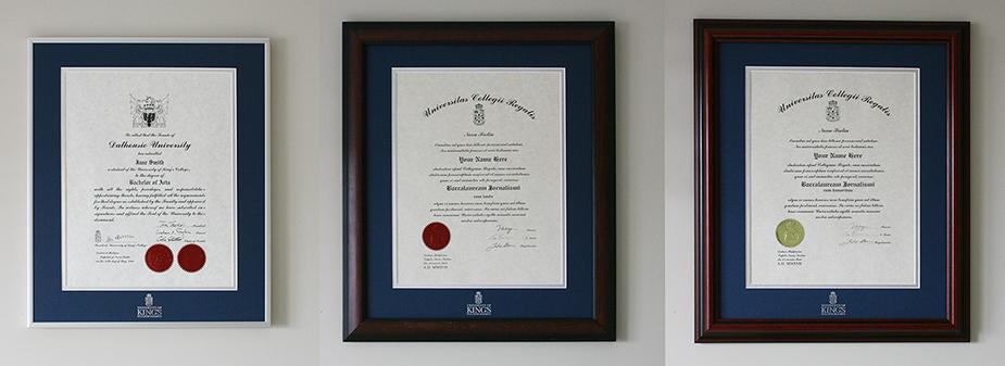 University of King's College degree frames