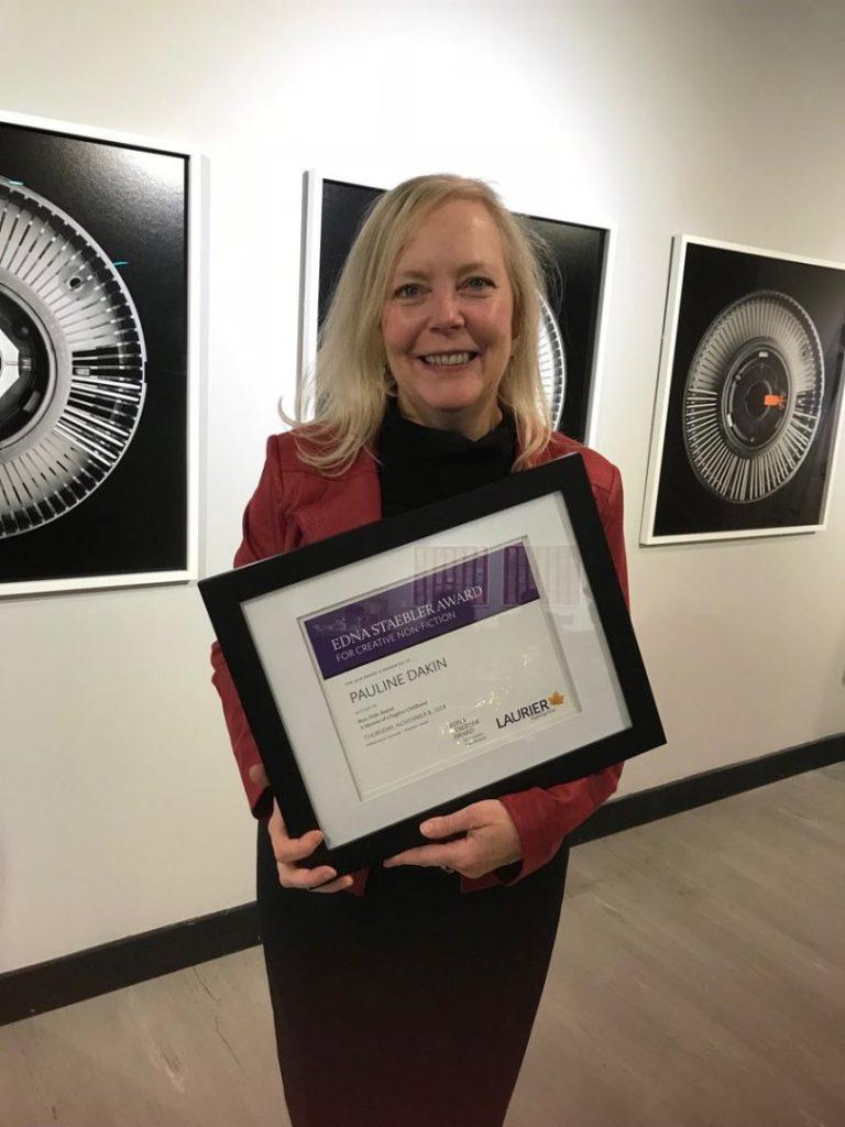 King's journalism professor Pauline Dakin, MFA'15, author of Run, Hide, Repeat, receiving the 2018 Edna Stabler Award for creative non-fiction.