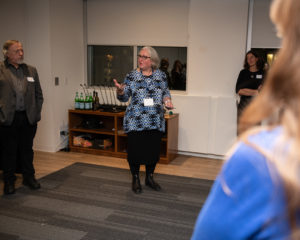 King's MFA Executive Director Kim Pittaway makes an announcement.