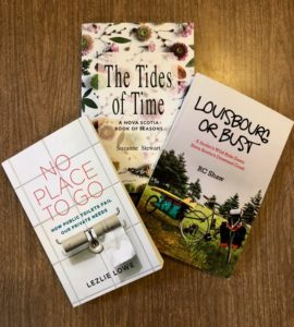 Books covers of No Place To Go, Louisbourg or Bust, and The Tides of Time