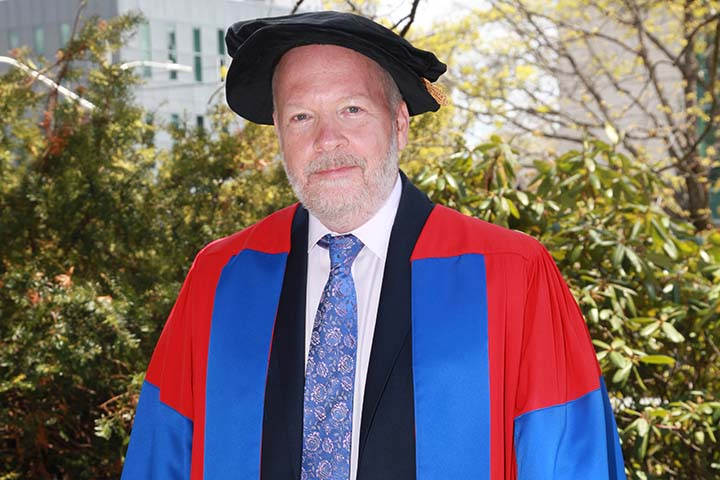 Bruce Gordon in his honorary doctorate robes.