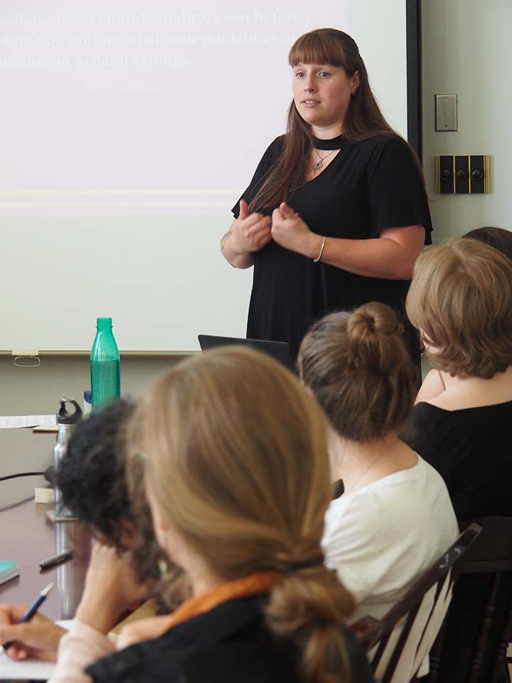 Jordan Roberts trains King's residence Dons about sexualized violence.